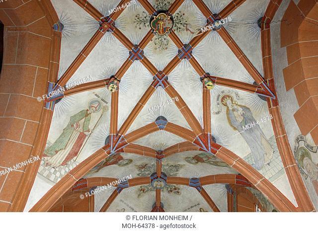 Nördliches Seitenschiff, Fresken im 2. Joch, Hl. Ludwig, Muttergottes