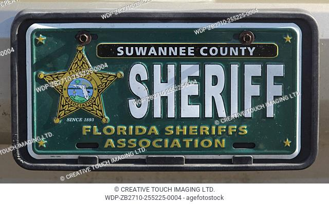 Vehicle vanity licence plate belonging to a sheriff from the State of Florida, USA
