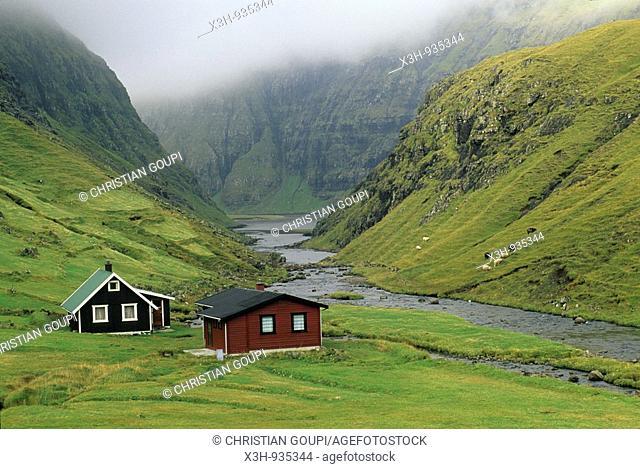 Saksun, iles feroe, danemark, ocean atlantique, faroe island