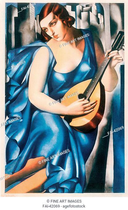 The musician by Lempicka, Tamara de (1898-1980)/Aquatint/Art Nouveau/1933/Poland/Private Collection/63x41/Music, Dance,Genre/Graphic arts/Die Musikantin von...