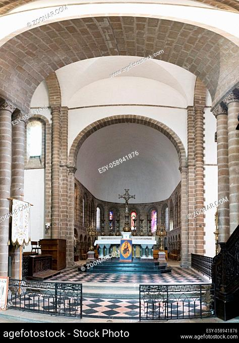 Quimperle, Finistere / France - 24 August 2019: view of the altar in the Abbey Sainte-Croix in Quimperle in Brittany