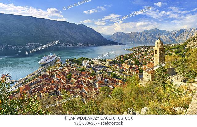 Panoramic view of Kotor Bay, Montenegro