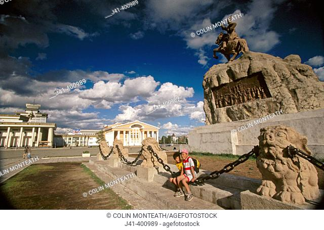 Historical monument at Sukhbaatar Square. Independence from Chinese in 1921. Ulan Bator. Mongolia