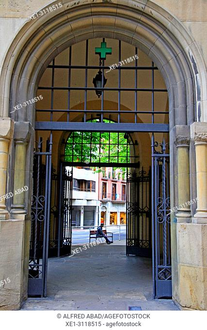 Arcade and iron gate, Pamplona, Navarra, Spain