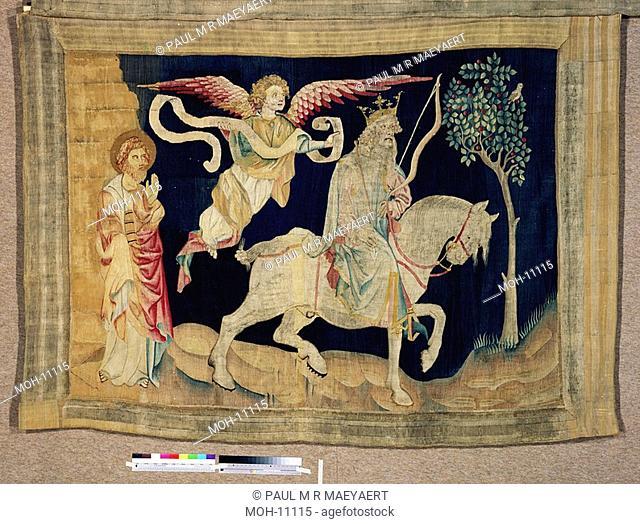 La Tenture de l'Apocalypse d'Angers, Premier sceau : le vainqueur au cheval blanc 1,53 x 2,08m, Das erste Siegel: der Sieger auf dem weißen Pferd Schimmel