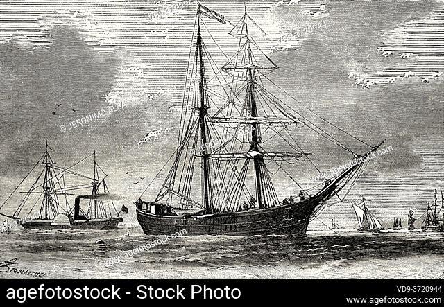The Hansa Schooner. Old 19th century engraved illustration. Second German North Polar Expedition in 1869 from El Mundo en La Mano 1879