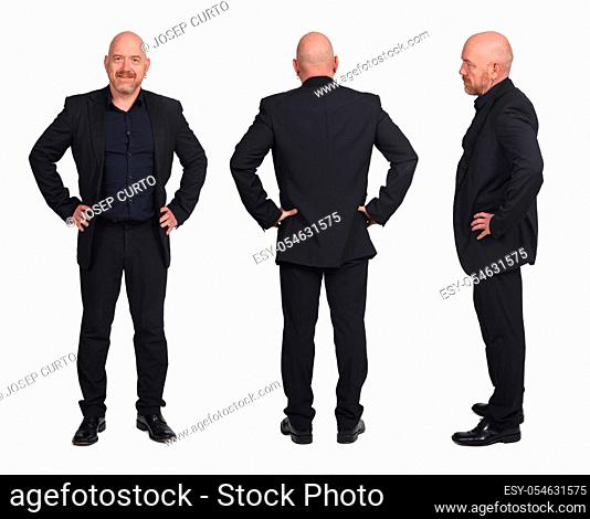 collage of a man front back and profile on white background, hands on hip