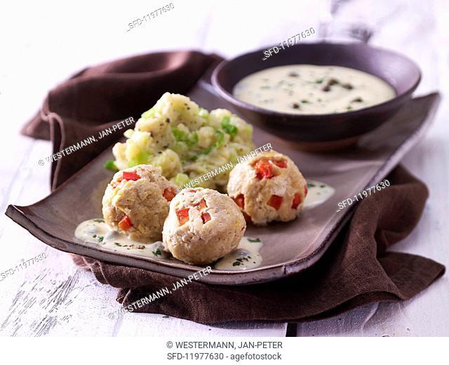 Tofu dumplings with a caper sauce