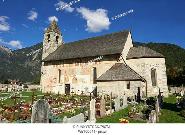 """Exterior of the Church of San Vigilio in Pinzolo and its fresco paintings """"Dance of Death"""" painted by Simone Baschenis of Averaria in1539, Pinzolo, Trentino"""
