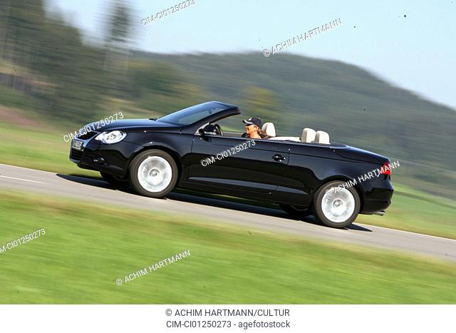 VW Volkswagen Eos 2.0 TFSI, model year 2006-, black, driving, side view, country road, open top
