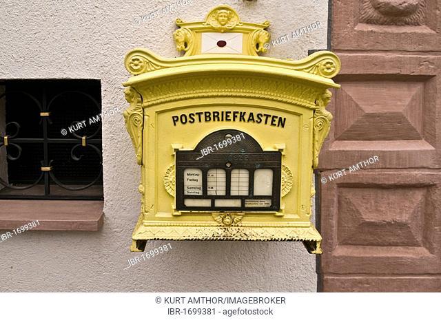 Post box, replica from 1896, in operation, Tauberbischofsheim, Bavaria, Germany, Europe
