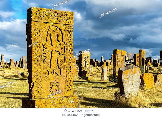 Medieval Khachkars, carved memorial stele, Noratus Cemetery, Lake Sevan, Gegharkunik Province, Armenia, Caucasus, Asia