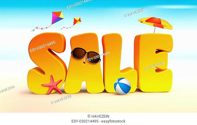 3D Dimensional Sale Title Words for Summer with Flying Kites, umbrella, Beach Ball Starfish and Sunglasses in the Beach or Sea Shore Illustration