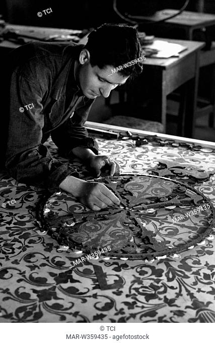 craftsman at work with semi-precious stones, florence 1956