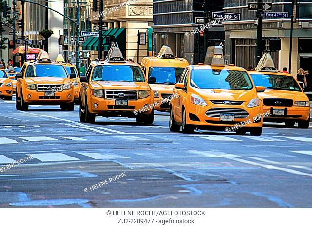 Yellow cabs on the street in Manhattan, New York City, USA