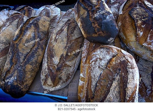 France, Auvergne, Cantal, Food, French land breads