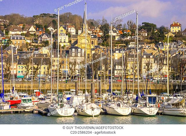 Harbour, fishing boats, town and church in the background, Trouville, Normandy, France