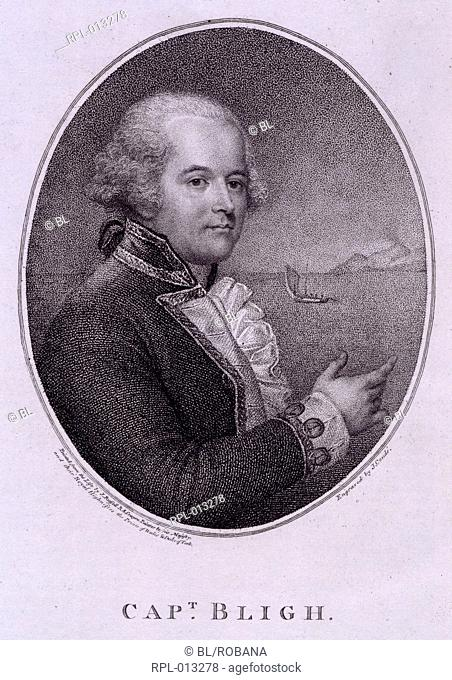 Captain William Bligh  1754 - c. 1817 . English naval officer. Most known for the mutiny on board his ship, the Bounty. , Captain William Bligh  1754 - c