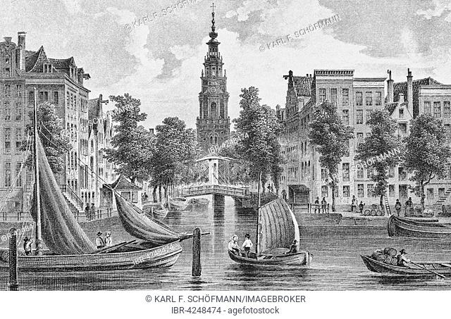 Lithograph, historic city view, Amstel, Zuiderkerk or South Church, Amsterdam, Holland, Netherlands