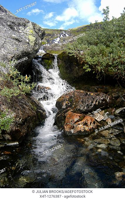 waterfall and river with rocks in Norway
