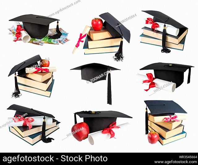 Set of images of black graduate hat, stack of big books, apple and paper scroll tied with red ribbon with a bow, isolated on white background
