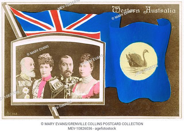 Flag of Western Australia with portraits of British Royalty