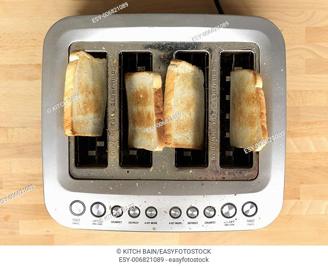 A close up shot of a kitchen toaster