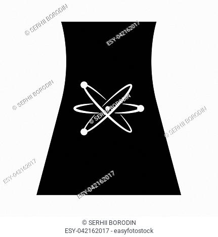 Cooling tower of nuclear power plant it is black icon . Flat style