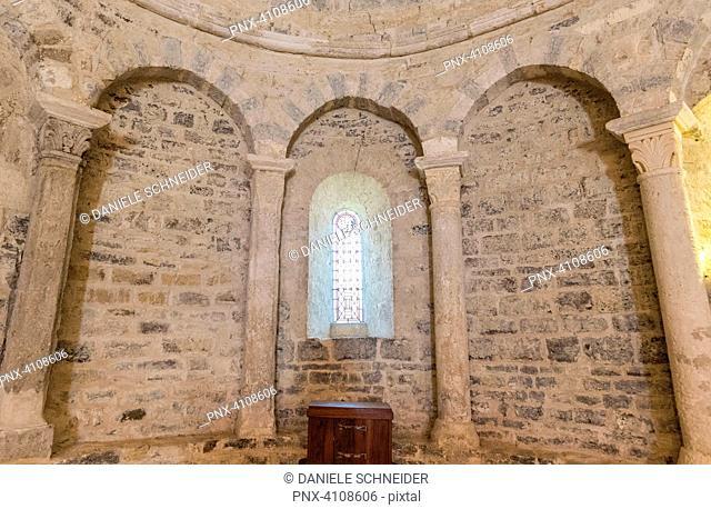 France, Drome, The Provencal Baronnies Regional Natural Park, Sainte Jalle village, church Notre Dame de Beauvert (12th century)