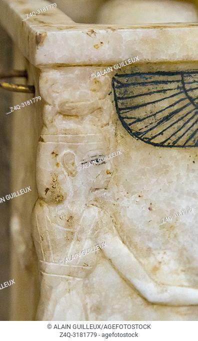 Egypt, Cairo, Egyptian Museum, Tutankhamon alabaster, from his tomb in Luxor : Canopic box, the protective goddess Neith on the corner