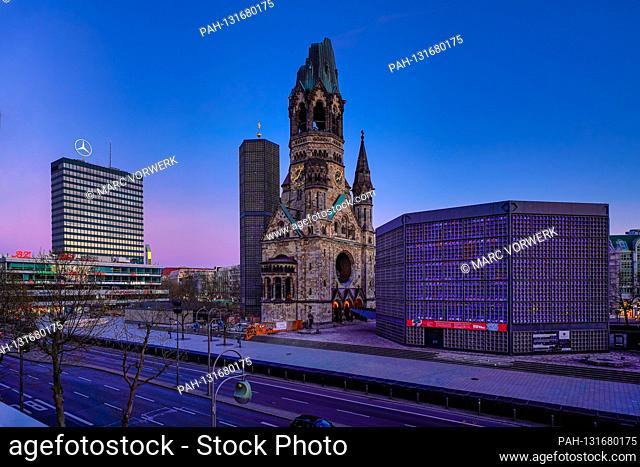 April 11, 2020, Berlin, The Kaiser Wilhelm Memorial Church on Breitscheidplatz / Kurfurstendamm in Berlin Charlottenburg