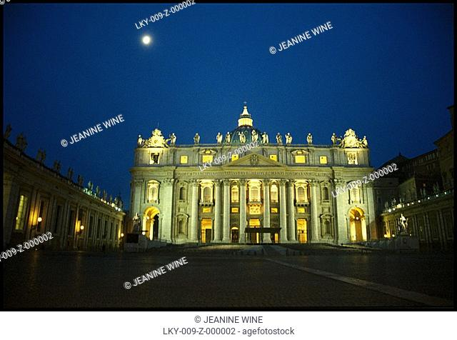 St  Peters Basilica in Rome at night