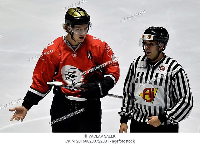 Radek Cip of Znojmo (left) with referee during the Orli Znojmo vs EHC Red Bull Munchen Champions Hockey League F group game in Znojmo, Czech Republic, August 23