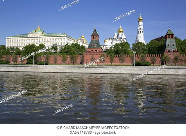 Moscow River, Kremlin, UNESCO World Heritage Site, Moscow, Russia