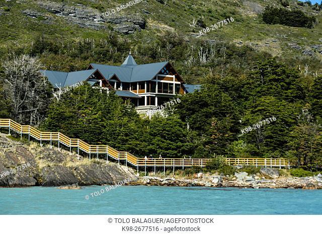 Hotel los Notros, glaciar Perito Moreno , Parque Nacional Los Glaciares, departamento Lago Argentino, provincia de Santa Cruz, republica Argentina, Patagonia