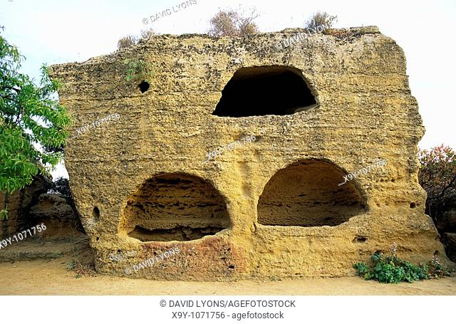Valley of the Temples at Agrigento, Sicily Italy  Early Christian catacomb burial tombs in vicinity of Temple of Concordia