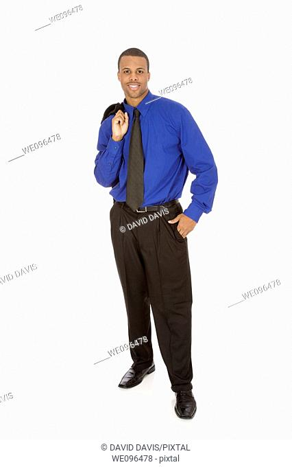 African American businessman standing on white background