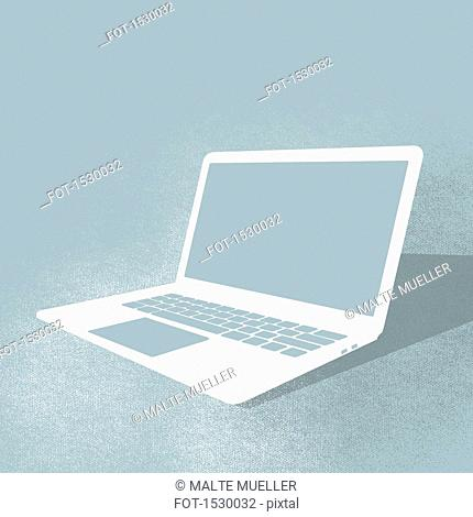 Illustration of laptop against turquoise background