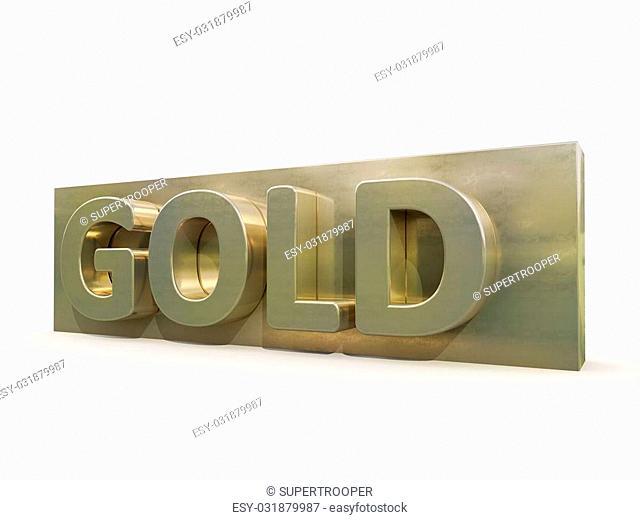 Gold icon on white background. 3d precious metal