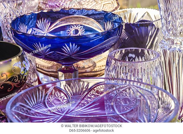 Armenia, Yerevan, Vernissage Market, antique glassware