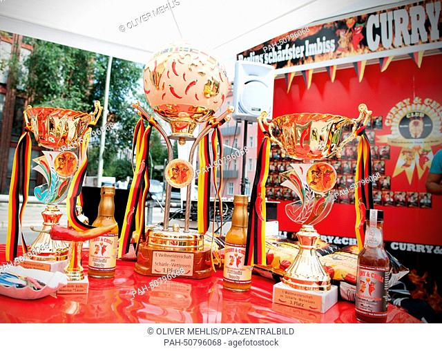 "The winners' trophies during the world spicy food eating contest at the """"Curry & Chili"""" snack shop in Berlin, Germany, 02 August 2014"