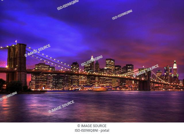Night cityscape of New York City