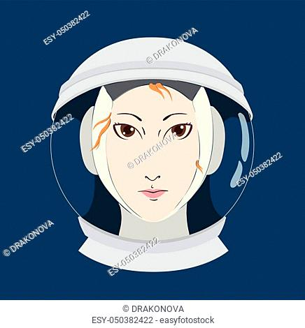 Female astronaut woman portrait in spacesuit helmet isolated on blue flat vector illustration