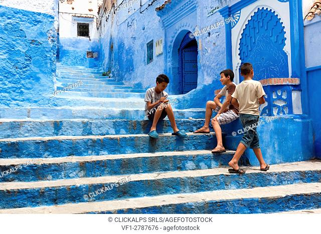 North Africa, Morocco,Chefchaouen district. Details of the city