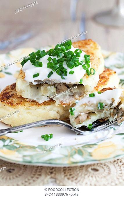 Russian potato cakes with a mushrooms filling