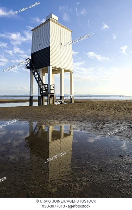 The Low Lighthouse on the beach at Burnham-on-Sea overlooking Bridgwater Bay. Somerset, England