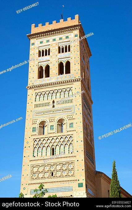 Mudejar tower of San Martin in Teruel city, Aragon in Spain