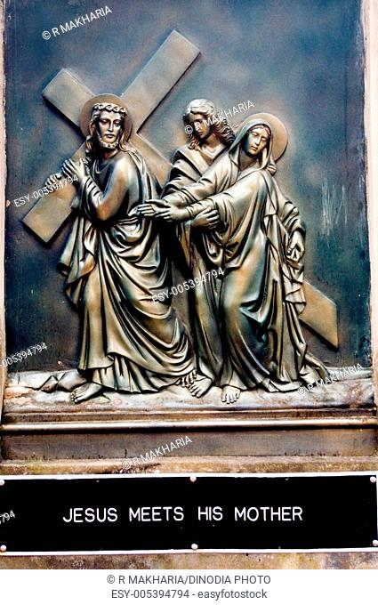 Wall sculpture of jesus christ life at catholic church at kohima , Nagaland , North East , India