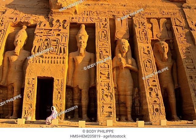 Egypt, Nubia, Abu Simbel, site listed as World Heritage by UNESCO, Nefertari Temple dedicated to Hathor Goddess at the edge of Lake Nasser