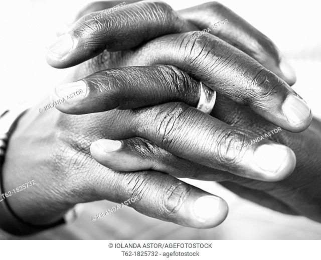 Black hands praying  Black and White  Horizontal